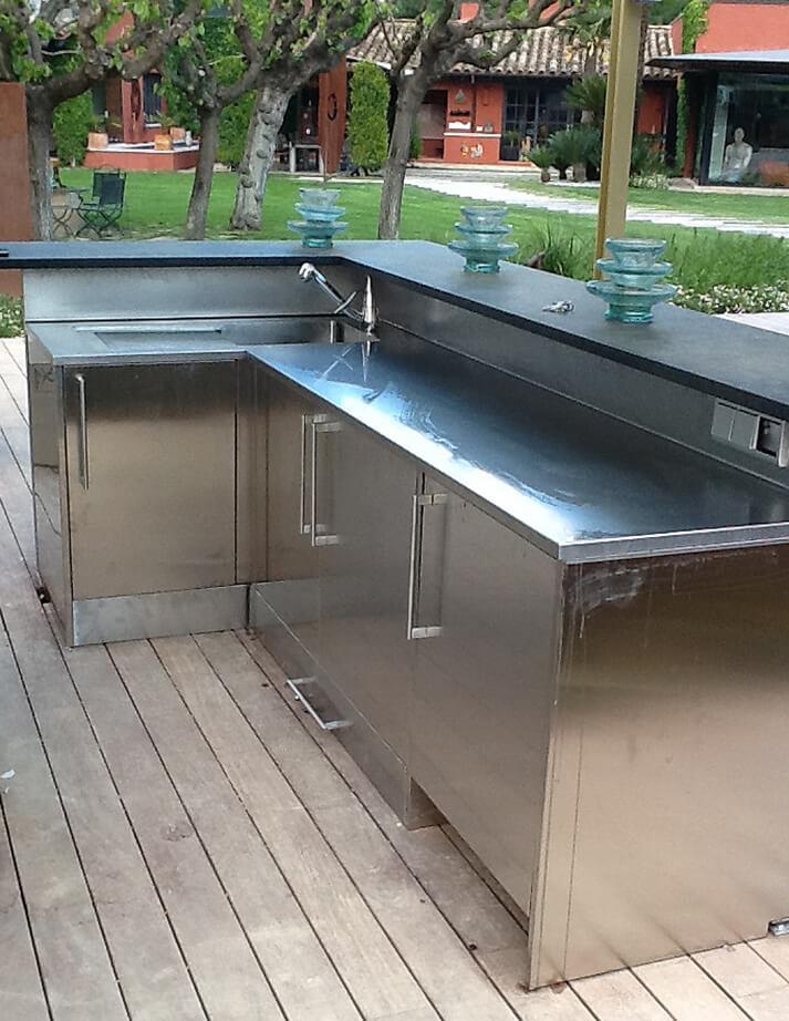 Dominox encimera de cocina en acero inoxidable para exterior for Muebles de cocina para encimera