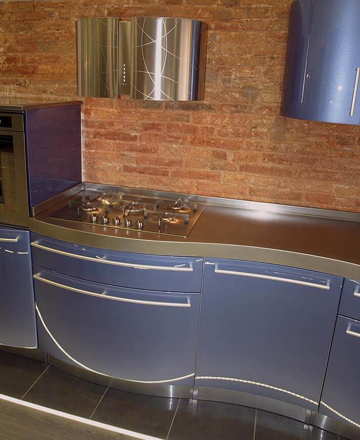 Encimeras de cocina de acero en acabado jaspeado
