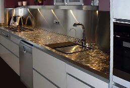 Encimeras de cocina de acero inoxidable en acabado pixie