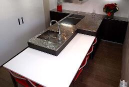 Encimeras de cocina de acero inoxidable en acabado jaspeado pixie
